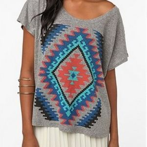 Urban Outfitters Boho Aztec Oversized Crop Top*